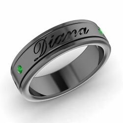 Engravable Menand039s Wedding Ring / Band With Emerald In Solid 14k Black Gold