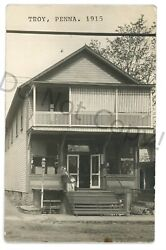 Rppc General Store In Troy Pa Bradford County Real Photo Postcard