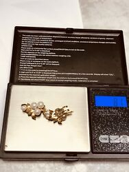 Vintage 14k Gold Pearl Clips Preowned Or Scrap 8.1g