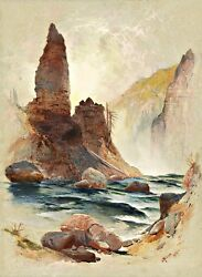 Tower Falls Yellowstone Painting By Jasper Francis Cropsey Art Reproduction