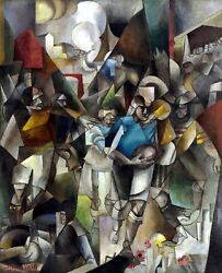 Football Players Painting By Albert Gleizes Reproduction