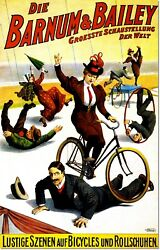 Barnum And Bailey Circus Bicycles And Skates Vintage Poster Reproduction