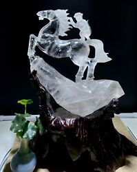 12and039and039 Natural White Rock Crystal Quartz China Feng Shui Monkey On Horse Statue