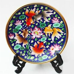 10and039and039pure Red Copper Gold Cloisonne Enamel Lotus Fish Goldfish Design Decor Plate