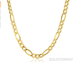 14k Yellow Gold Solid 7 Mm Figaro Chain Mens Necklace 20 22 24 30