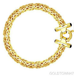 14k Yellow Gold Byzantine Necklace And Bracelet With Black Onyx Spring Ring