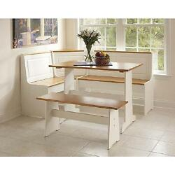White Kitchen Nook Corner Dining Breakfast Table Bench Booth And Beige Cushion Set