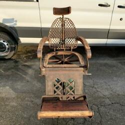 Antique 1800's Cast Iron Dental Or Barber Steampunk Chair Industrial