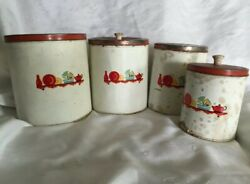 Very Early Vintage 4 Pc Set Tin Canisters With Lids Flour Sugar Coffee Tea