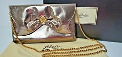 Rodo Clutch Evening Bag Metallic Bronze Gold with Strap Dust Bag Box Made Italy $29.99