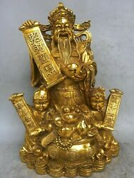 15and039and039 Brass Copper Furniture Decorate Blessing Boy Child Girl The God Of Wealth
