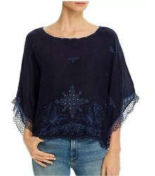 Johnny Was Brando Embroidered Boat-neck Top Blouse Blue Night Size S Nwt