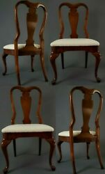 《one Of A Kind》set Of 4 Restored Queen Anne Vintage Chairs