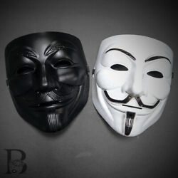 2ct V For Vendetta Anonymous Face Mask Guy Fawkes Halloween Masquerade Masks