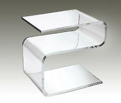 Acrylic Side Table Glass Inset