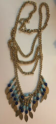Long Gold Tone Multitiered Chain Necklace With Blue Beads N80