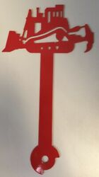 Bulldozer Metal Mailbox Flag Painted Red Cnc Metal Art Hardware Included
