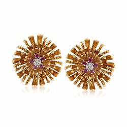 Vintage Ruby Diamond Floral Clip-on Earrings In 18kt Gold