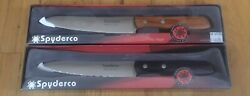 Brand New Discontinued Spyderco Yin Yang Kitchen Knives Plain And Serrated Edges