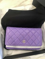 Chanel Quilted Caviar Purple Wallet On Chain SOLD OUT 2020!