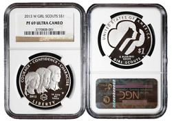 2013-w Proof 1 Silver Girl Scouts Commemorative Dollar Ngc Pf69uc Brown