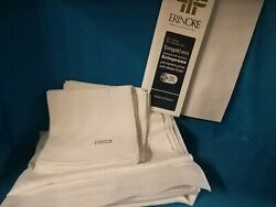 Vintage Nos 52 Irish Linen And 48 Rayon Hem-stitched Tablecloth And 12 Napkins