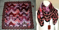 Missoni Authentic 35 X 35 Silk Zig-zag Paint Strokes Scarf Made In Italy