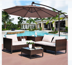 10 Ft Hanging Umbrella Outdoor Sun Shelter Patio Sun Shade With Solar Led Lights