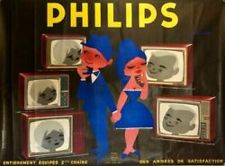Original Vintage 50s French Philips Tv Poster - Saint-geniandegraves - 1950s Television