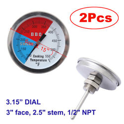 2x 3 Inch Cooking Bbq Smoking Thermometer Temp Gauge Grill Smoker Pit Thermostat