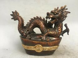14and039and039 Bronze Home Furniture Decorate Auspicious Beast Wealth Yuan Bao Dragon