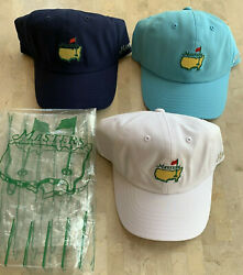 Masters 3 2019 Golf Hats Navy, Wht, Turq Light Weight Nwt Adjustable Sizing