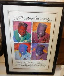 Fats Domino New Orleans Poster 1989 Jazzfest 20th Anniversary Signed Low 55/2500
