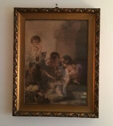 Antique 1920and039s Lithograph By Franz Hanfstaeng Original Wood Frame Germany A2