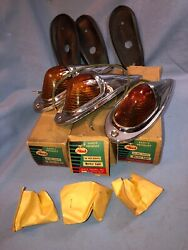 Mack Vintage Truck Roof Cab Marker Clearance Lights With Glass Lenses Nos W-box