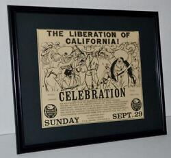 BLACK PANTHERS 1968 LIBERATION OF CALIFORNIA PROTESTS FRAMED PROMOTIONAL AD