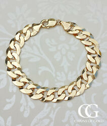 Ladies Stament Solid 9ct Yellow Gold Curb Bracelet 7.5''