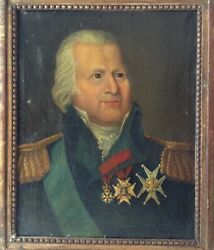 19th Century Rare French Oil Painting Portrait Of The King Of France Louis Xviii