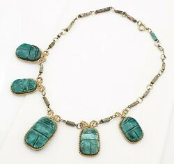 Vintage Necklace Ceramic Scarab Beads 50s 60s Jewellery Jewelry Egyptian Revival