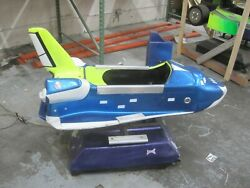 Coin Operated Vintage Antique Space Shuttle Rocket Ship Kiddie Ride Blue