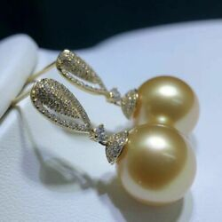 Gorgeous Aaa10-11mm South Sea Gold Round Pearl Dangle Earring 18k