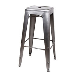 30 Industrial Style Backless Gunmetal Metal Bar Stool Kitchen Counter Stools