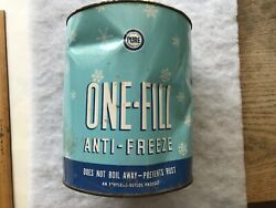 Pure Oil Company Vintage One Fill, Anti Freeze Tin Can, Dents