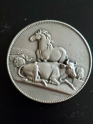 Silver Old Medal Company Of French Farmers Cow Horse Hive Aries Engraver77g55mm