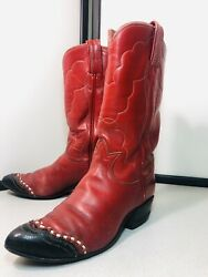 Vintage Blood Red Tony Lama Cowboy Cowgirl Western Boots