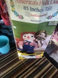 Raggedy Andy Doll Knickerbocker Very Rare With Box 45 Inches