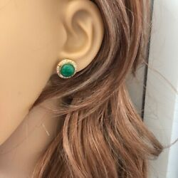 14k Solid Yellow Gold Round Green Jade Cz Stud Earrings - E44