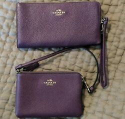 Coach Leather Wallet And Wristlet Purple $85.00