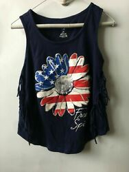 Girls Flower Red White And Blue Themed Free Spirit Tank Top 4th of July Medium $11.11