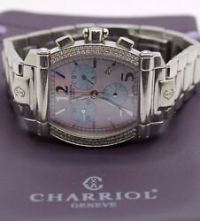 Charriol Ladies Columbus60t Quartz Watch Pink Mother Of Pearl Dial Diamond Bezel